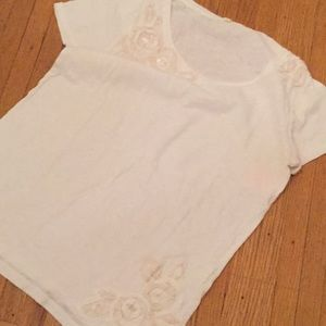 JCrew white shirt sleeve top Large